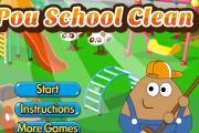 Pou Okul Temizliyor